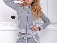 Брендовый гламурный спортивный костюм женский Турция серый меланж XS S M L XL XXL ( до 54)