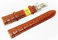 Ремешок кожаный Modeno Spain для наручных часов с застежкой клипсой, коричневый, 20 мм