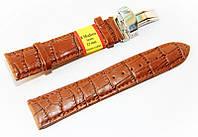 Ремешок кожаный Modeno Spain для наручных часов с застежкой клипсой, коричневый, 22 мм
