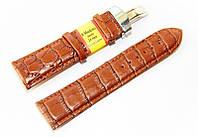 Ремешок кожаный Modeno Spain для наручных часов с застежкой клипсой, коричневый, 24 мм