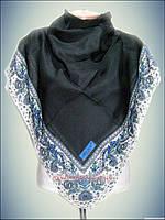 Натуральный платок однотонный чёрный с бирюзой турецкий