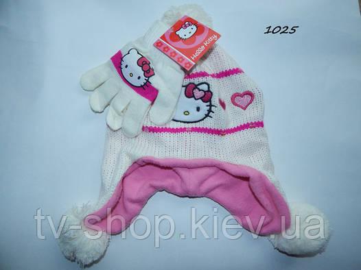 """Набор шапка+перчатки """"Hello Kitty"""" белый"""