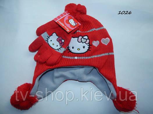 """Набор шапка+перчатки """"Hello Kitty""""  красный"""