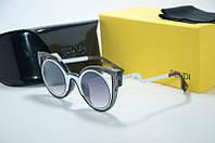 Солнцезащитные очки Fendi  чёрные с белым, фото 1