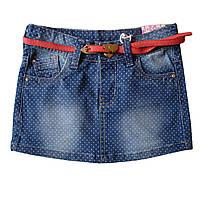 Джинсовая юбка в горошек; 116, 128 размер, фото 1