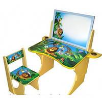 Парта стол со стулом регулируемая BABY ELIT Африка с двухсторонним мольбертом, фото 1