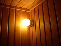 Размещение светильника в углу сауны, крючки по бокам для углового абажура. Такое расположение светильника под абажуром компактно и удобно, не мешает париться с веником.