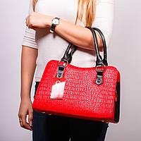 Красная дамская сумка женская крокодиловая №1350rn