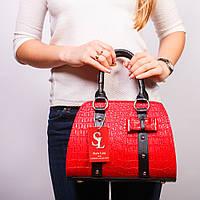 Женская красная сумка-боченок принт крокодил