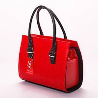 Красная классическая сумка лаковая женская каркасная