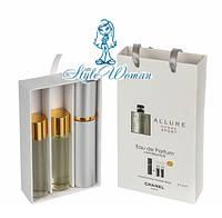 Подарочный набор парфюмерии Chanel Allure Homme Sport Шанель Аллюр Хом Спорт с ферамонами 3*15мл мини