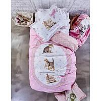 Подростковое постельное белье Karaca Home ranforce стеганное Calliope розовое