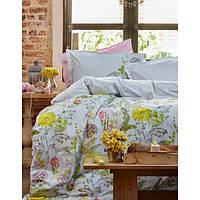 Комплект постельного белья Karaca Home Belissa + стеганный пододеяльник желтое евро размера