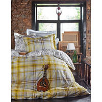 Комплект постельного белья Karaca Home Camilo + стеганный пододеяльник желтое евро размера