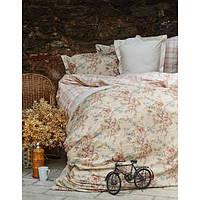 Комплект постельного белья Karaca Home Carina + стеганный пододеяльник бежевое евро размера