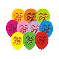 Воздушные шары Gemar, расцветка: Пастель, Обезьянки, Диаметр 21 см, 100 шт.