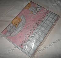 Простынь в детскую кроватку на резинке -Мишки на подушке