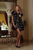Жилет жилетка из черной лисы и чернобурки  Vest made of black-dyed fox and silverfox