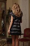 Жилет жилетка из черной лисы и чернобурки  Vest made of black-dyed fox and silverfox, фото 4