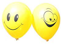 Воздушные шары Gemar, расцветка: Пастель желтые, Шелкография 2 штампа Улыбка Смайл, Диаметр 30 см, 100 шт.