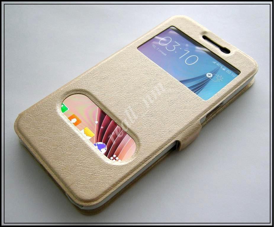 Золотистый чехол-книжка DW Case для смартфона Samsung Galaxy J7 J700H