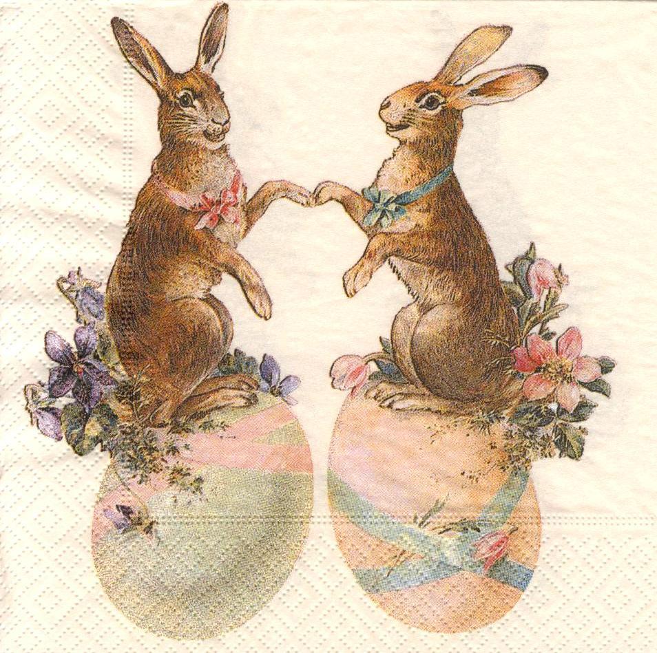 Редкая декупажная салфетка Пасхальная с зайцами 734