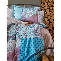 Комплект постельного белья Karaca Home Leily pano + стеганный пододеяльник голубое евро размера