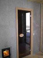 Стеклянная дверь в сауну и дверца каменки со стеклом - вид из комнаты отдыха.