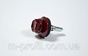 Саморез кровельный, 4,8Х19 мм, RAL 3005, саморез для профнастила, по металлу , фото 3