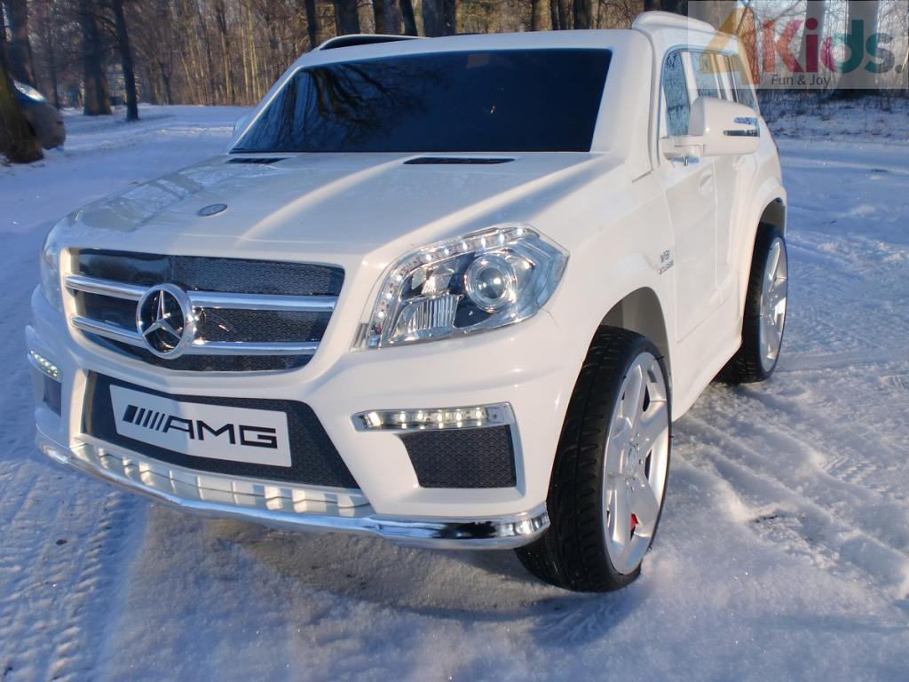 Детский электромобиль MERCEDES GL63 белый автопокраска + кожаное сидение + EVA колеса