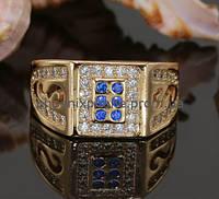 Интересное кольцо с фианитами, покрытое золотом (126171)