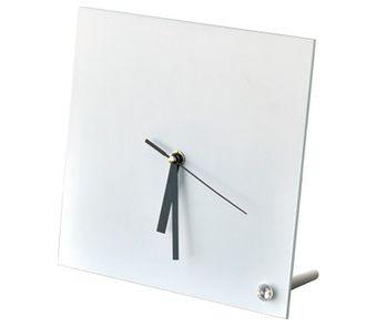 Часы стеклянные для сублимации настольные квадратные (20х20 см).