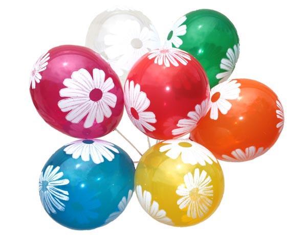 Воздушные шары Gemar, расцветка: Пастель ассорти, Шелкография Ромашка, Диаметр 30 см 100 шт.