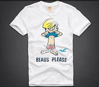 Мужская футболка Hollister белая с принтом мальчик