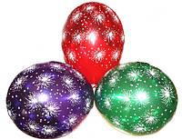 Воздушные шары Gemar, расцветка: Кристалл ассорти, Шелкография Салют, Диаметр 30 см, 100 шт.
