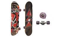 Скейтборд в сборе (роликовая доска) KEPAI SK-2451A (колесо-PU, р-р деки 76,5х23,5х1,2см, АВЕС-5)