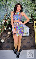 Женский летний костюм топ+юбка яркий цветной камуфляж и фиолетовая обстракция