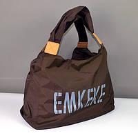 Сумка дорожная, спортивная, пляжная женская коричневая Emkeke 915, фото 1