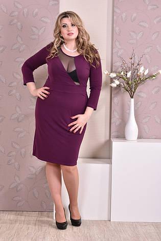 Стильное платье больших размеров 0195 фиолетовое, фото 2