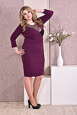 Стильное платье больших 60+ размеров 0195 фиолетовое, фото 2