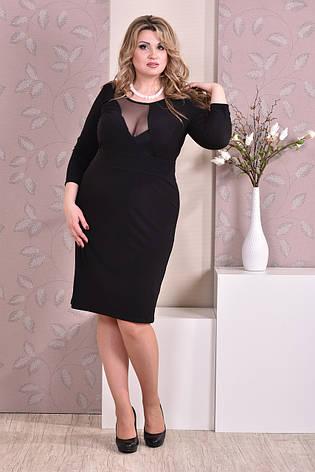 Стильное платье больших размеров 0195 черное, фото 2