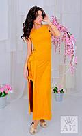 Женское платье в пол из замши со шнуровкой по бокам