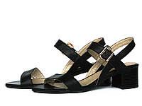 Черные кожаные босоножки на устойчивом каблуке, фото 1