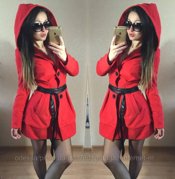 """Короткое пальто из кашемира с капюшоном и тонким кожаным поясом """"Челси"""" Красный, S - Dagaz ™ - интернет магазин в Одессе"""