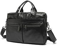 Натуральная кожаная сумка  черная BEXHILL
