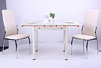 Стол обеденный Челси (B179-66) База ваниль/Стекло ваниль