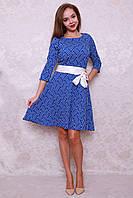 Платье с клешной юбкой под пояс
