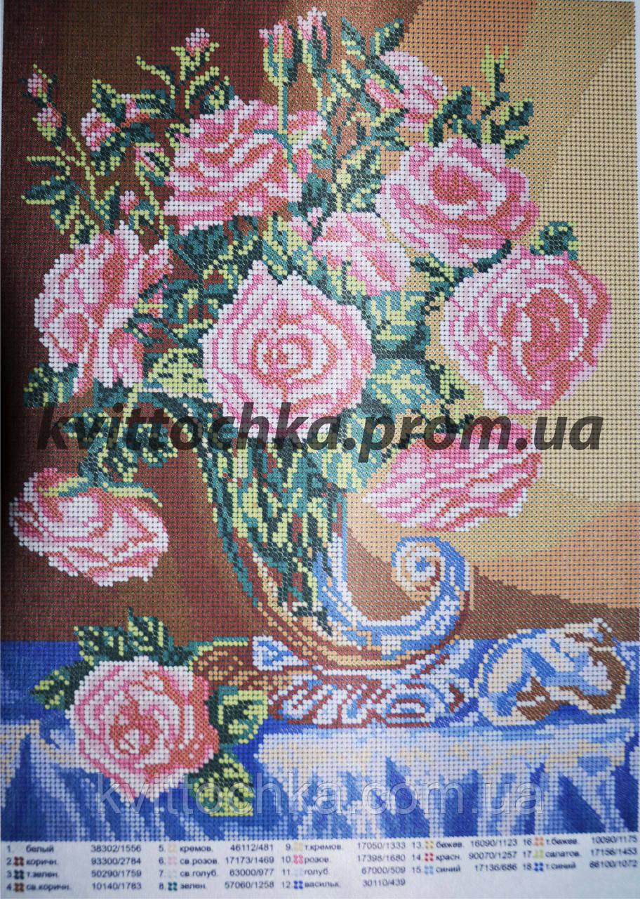 """Схема для вышивания бисером """"Букет чайных роз"""""""