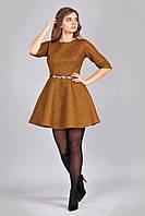 Горчичное гипюровое платье с 3/4 рукавом