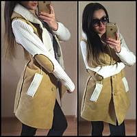 """Комбинированное пальто из искусственного дубляжа на натуральной овчине с капюшоном """"Имидж"""""""